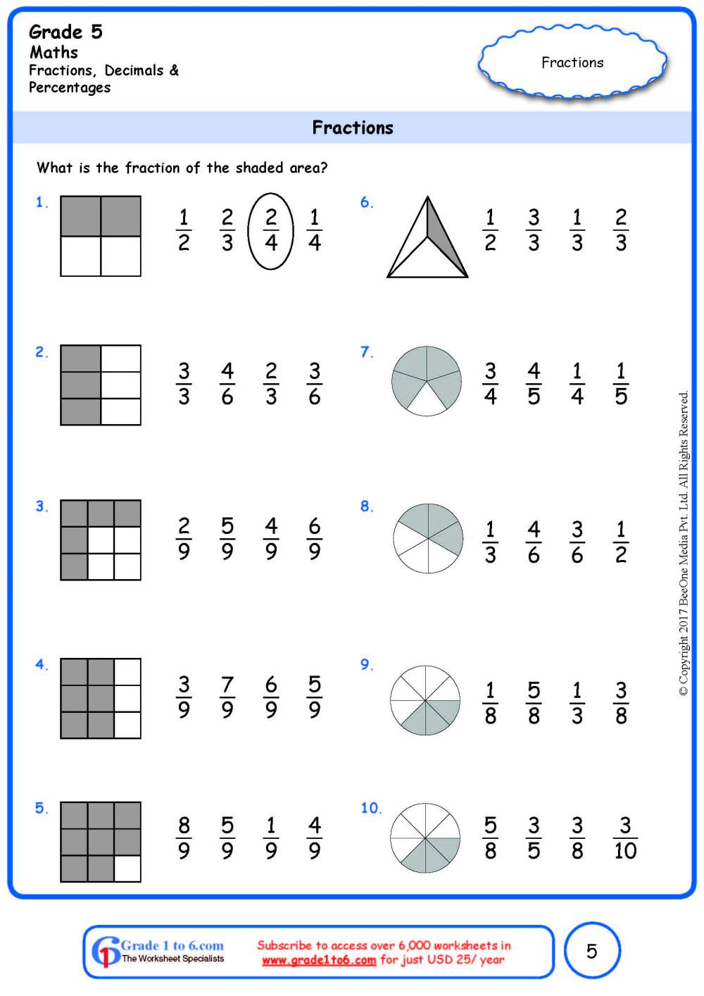 medium resolution of Grade 5 Fraction of Shaded Area Worksheets www.grade1to6.com