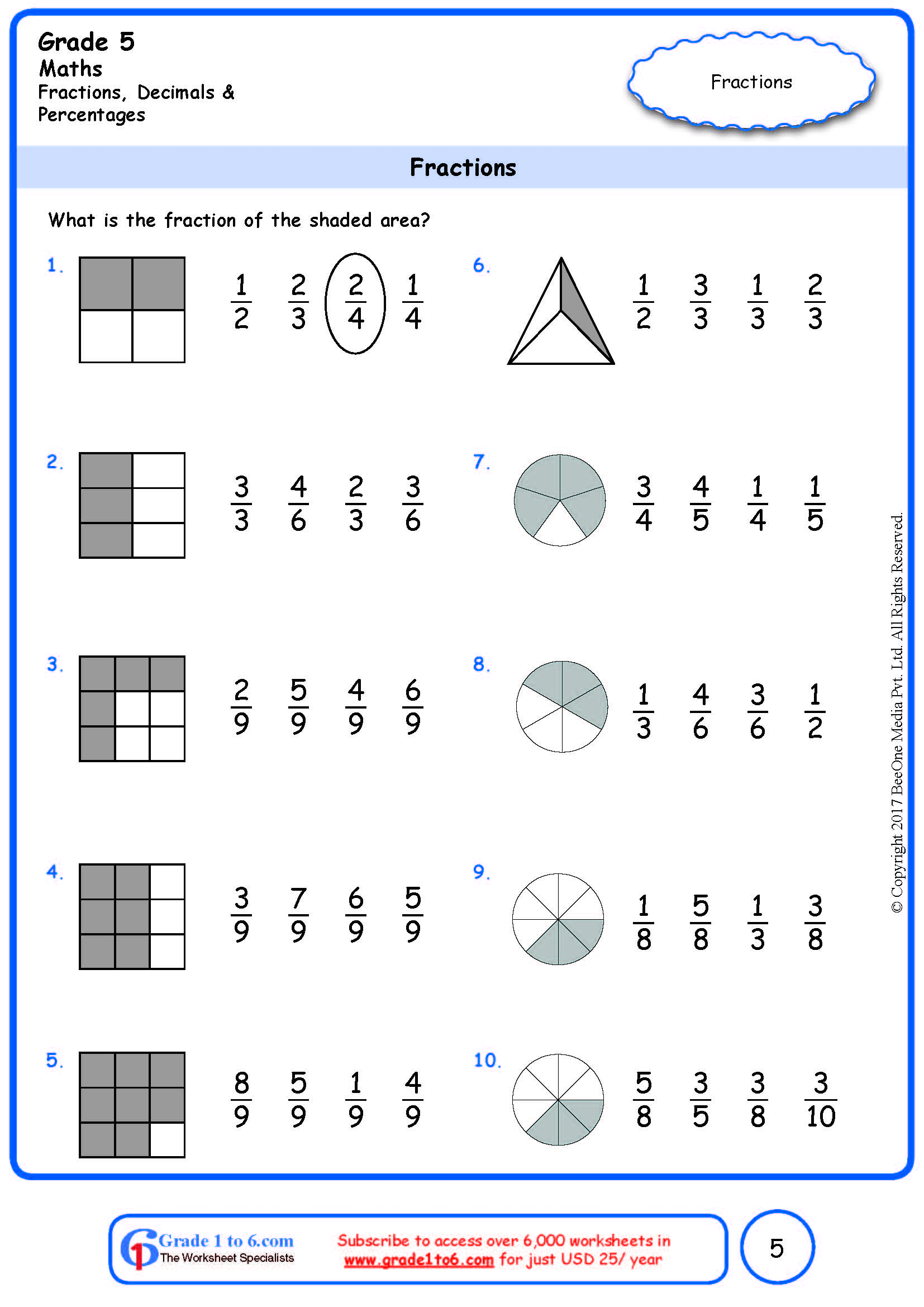 hight resolution of Grade 5 Fraction of Shaded Area Worksheets www.grade1to6.com