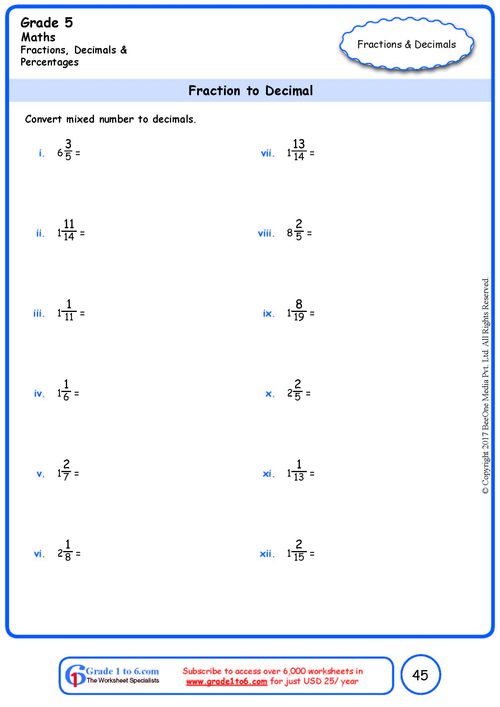 hight resolution of Grade 5 Fraction to Decimal Conversion Worksheets www.grade1to6.com