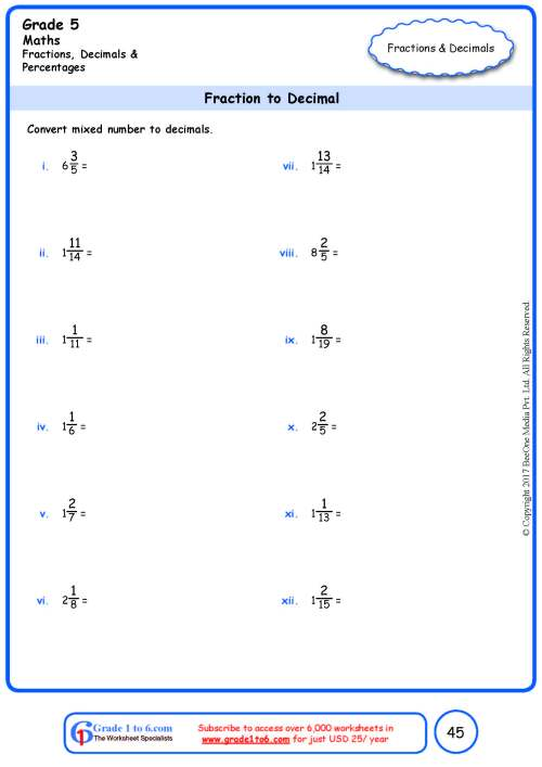 small resolution of Grade 5 Fraction to Decimal Conversion Worksheets www.grade1to6.com