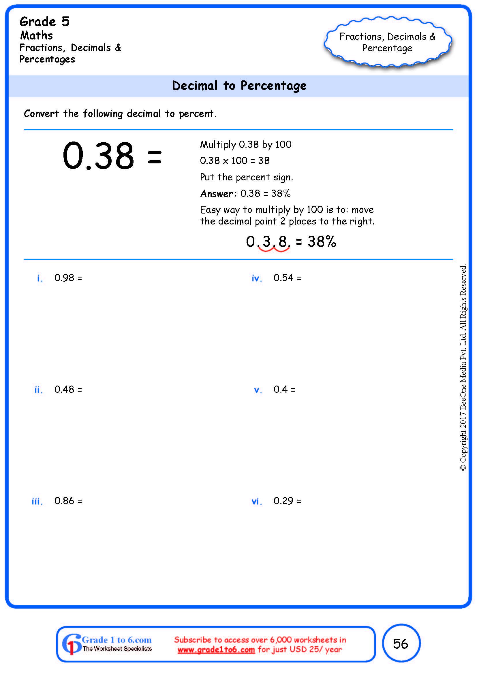 hight resolution of Grade 5 Decimal to Percentage Conversion www.grade1to6.com
