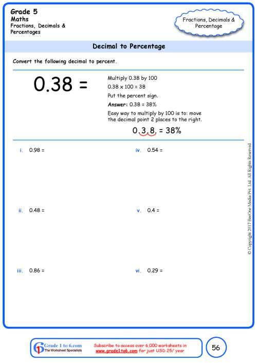 small resolution of Grade 5 Decimal to Percentage Conversion www.grade1to6.com