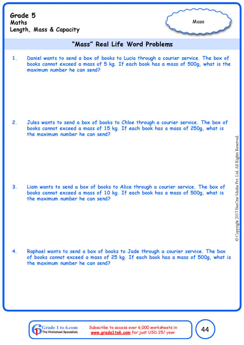 medium resolution of Word Problems in Weight/Mass Worksheets www.grade1to6.com