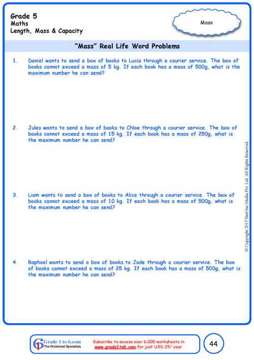 small resolution of Word Problems in Weight/Mass Worksheets www.grade1to6.com