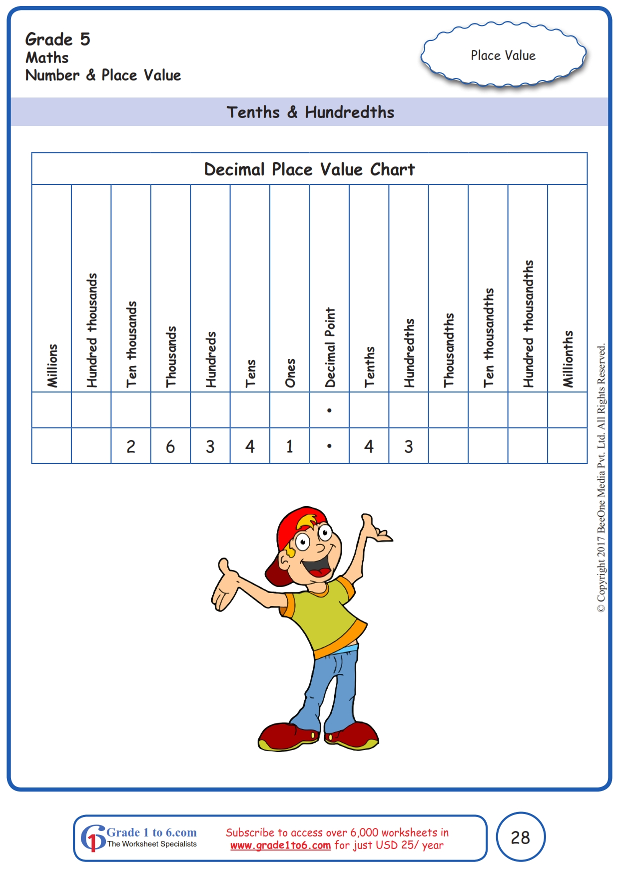Decimal Place Value Worksheets Grade 5 Ade1to6