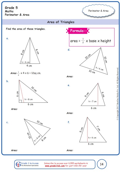 small resolution of Area of Triangles Worksheets  Grade 5  www.grade1to6.com