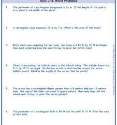 Area \u0026 Perimeter Word Problems  Grade 5  www.grade1to6.com [ 1754 x 1239 Pixel ]