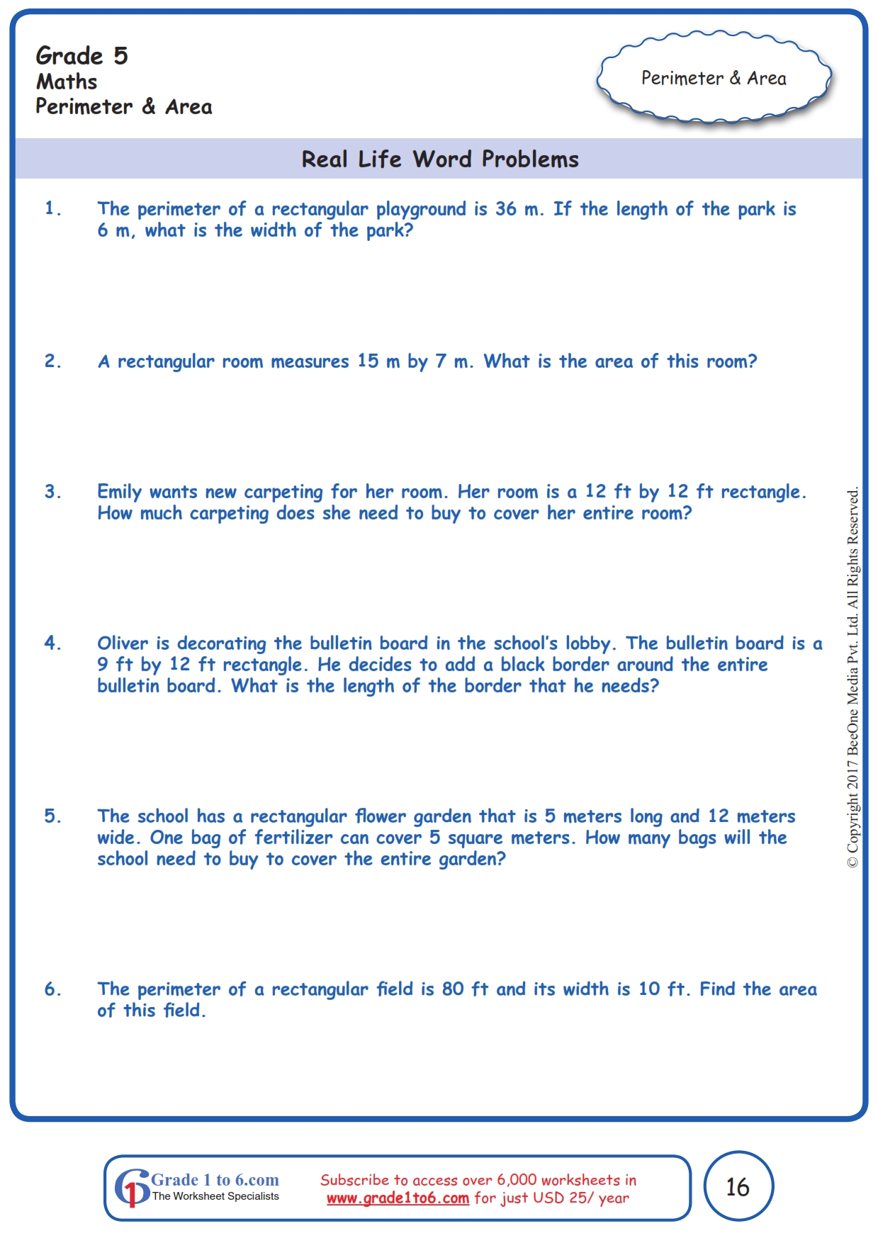 hight resolution of Area \u0026 Perimeter Word Problems  Grade 5  www.grade1to6.com