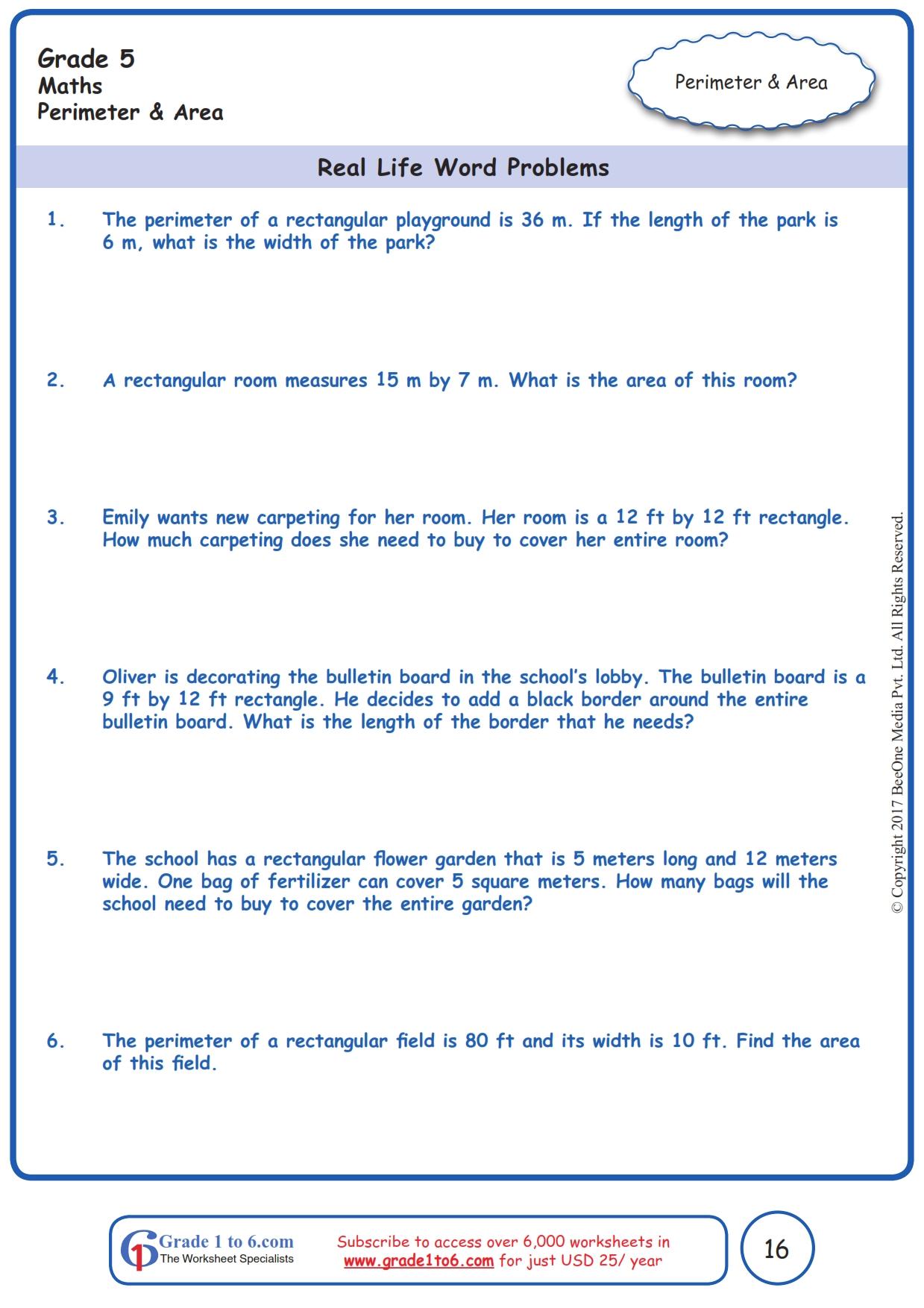hight resolution of Area \u0026 Perimeter Word Problems  Grade 5  www.grade1to6.com