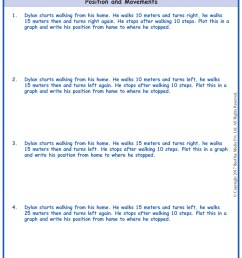 Word Problems in Position \u0026 Movement Worksheets www.grade1to6.com [ 1754 x 1239 Pixel ]