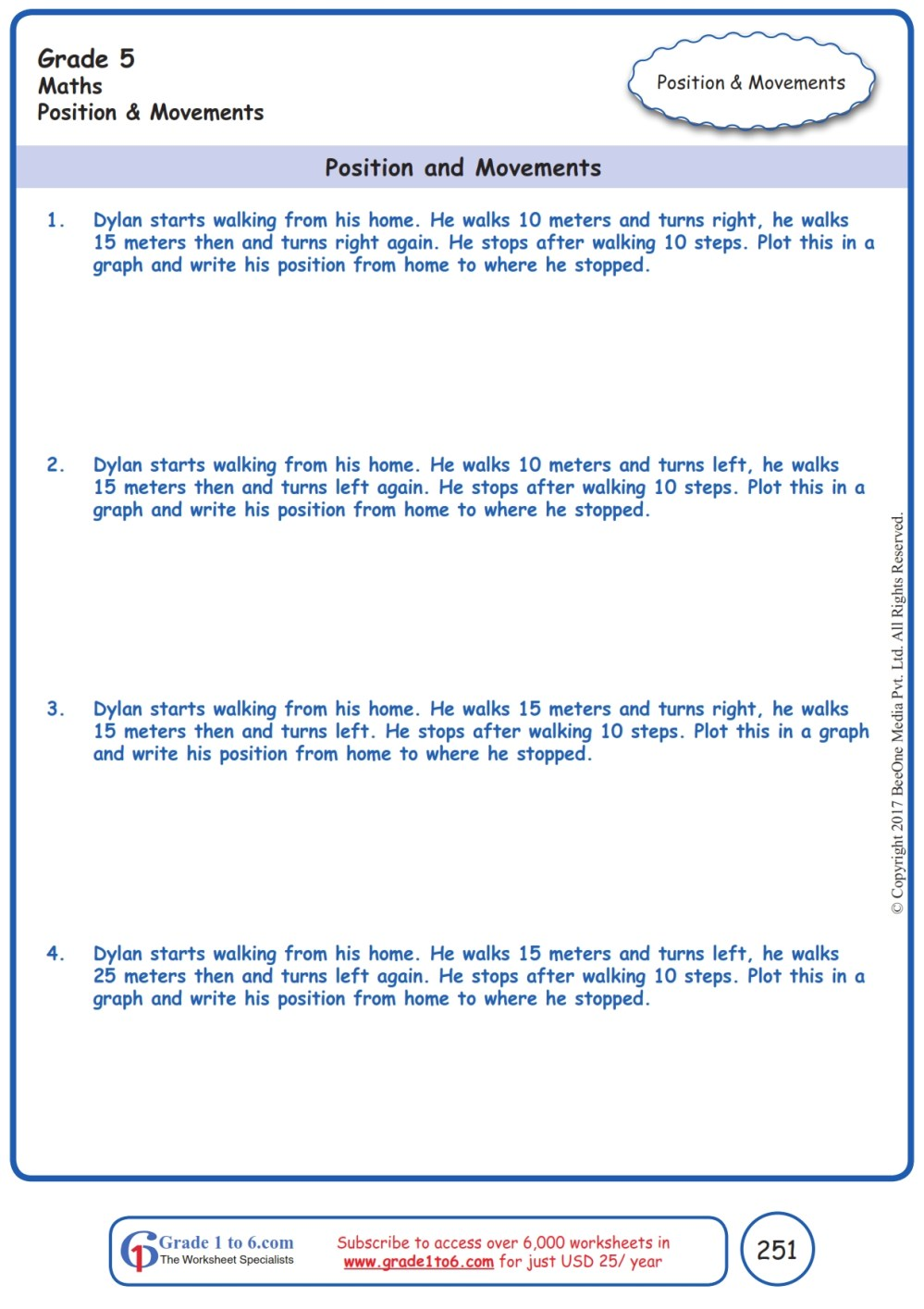 medium resolution of Word Problems in Position \u0026 Movement Worksheets www.grade1to6.com