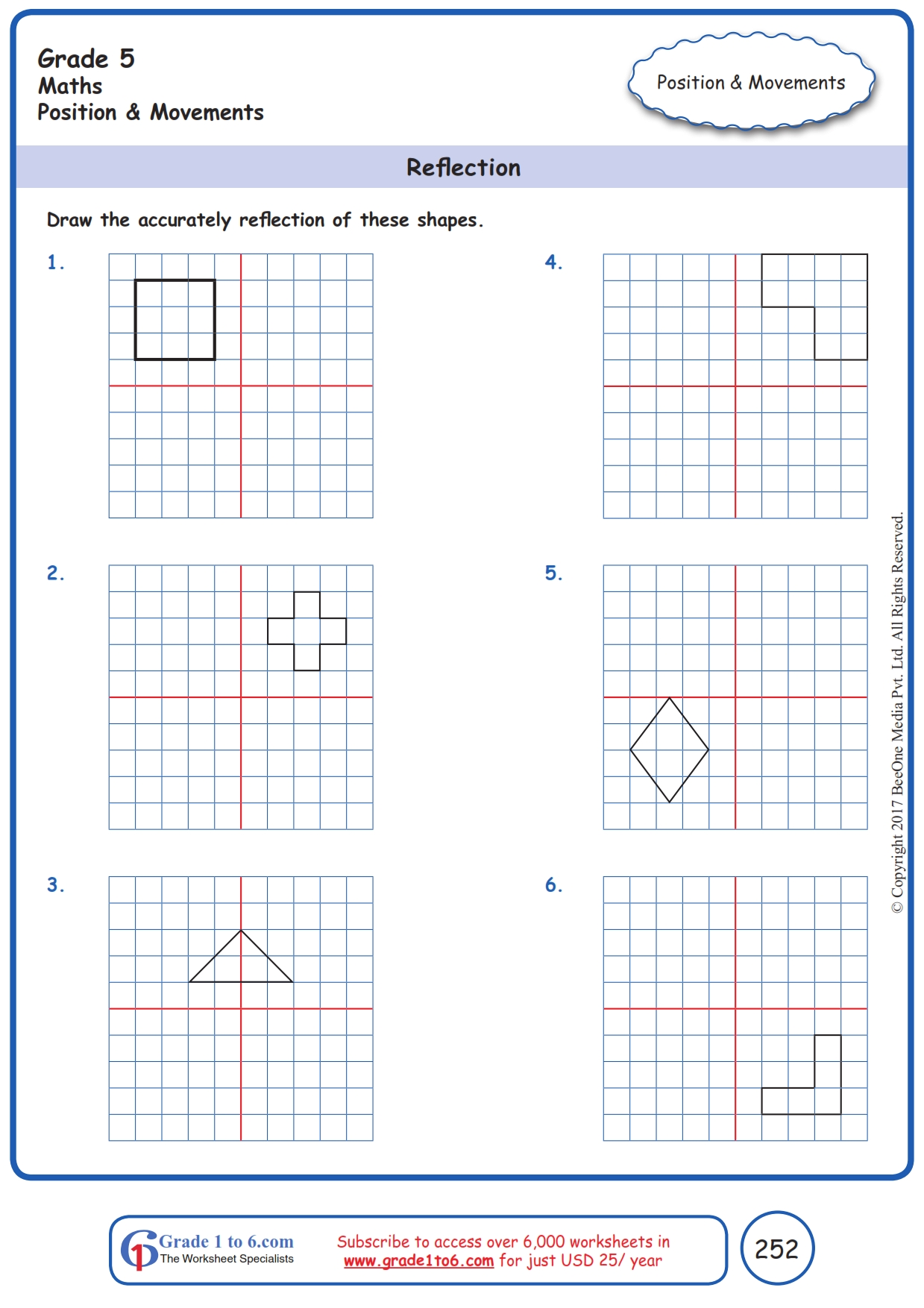 hight resolution of Grade 5 Reflection of Shapes Worksheets www.grade1to6.com