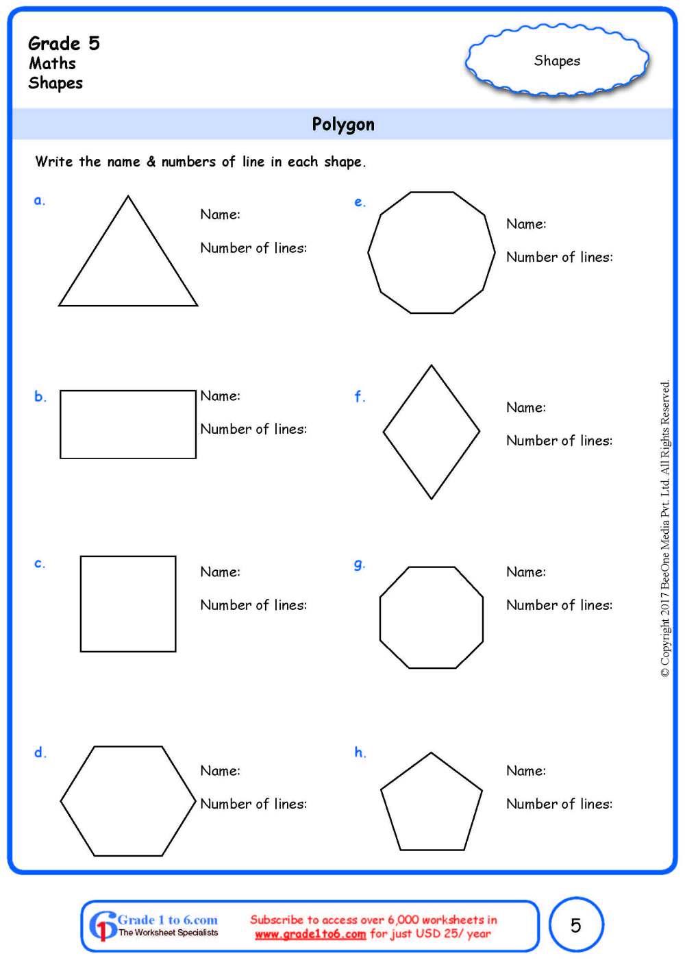 medium resolution of Grade 5 Geometry Worksheets: Polygon www.grade1to6.com