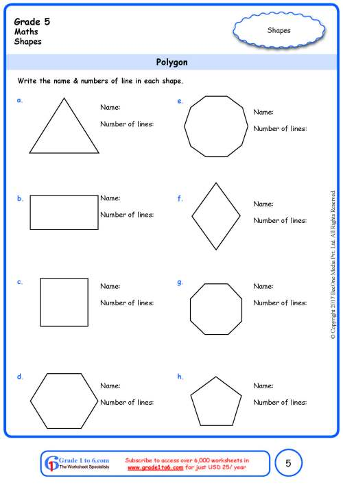 small resolution of Grade 5 Geometry Worksheets: Polygon www.grade1to6.com
