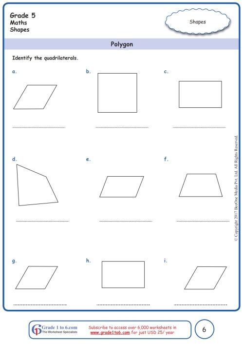 small resolution of Grade 5 Geometry Worksheets: Identifying Quadrilaterals