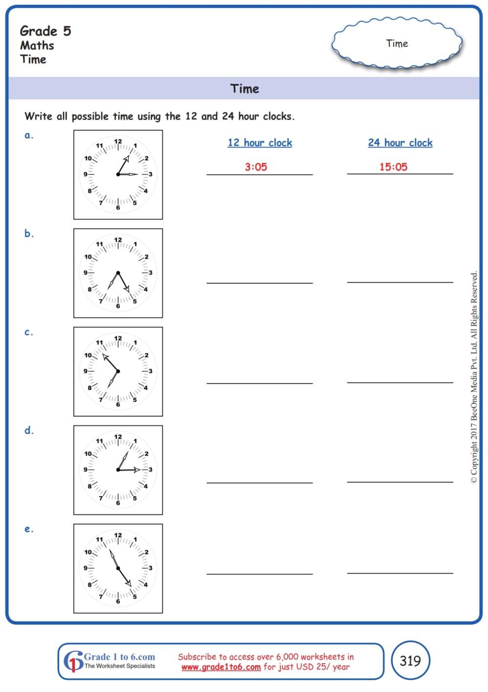 medium resolution of Time  12 hr \u0026 24 hr  Worksheets www.grade1to6.com