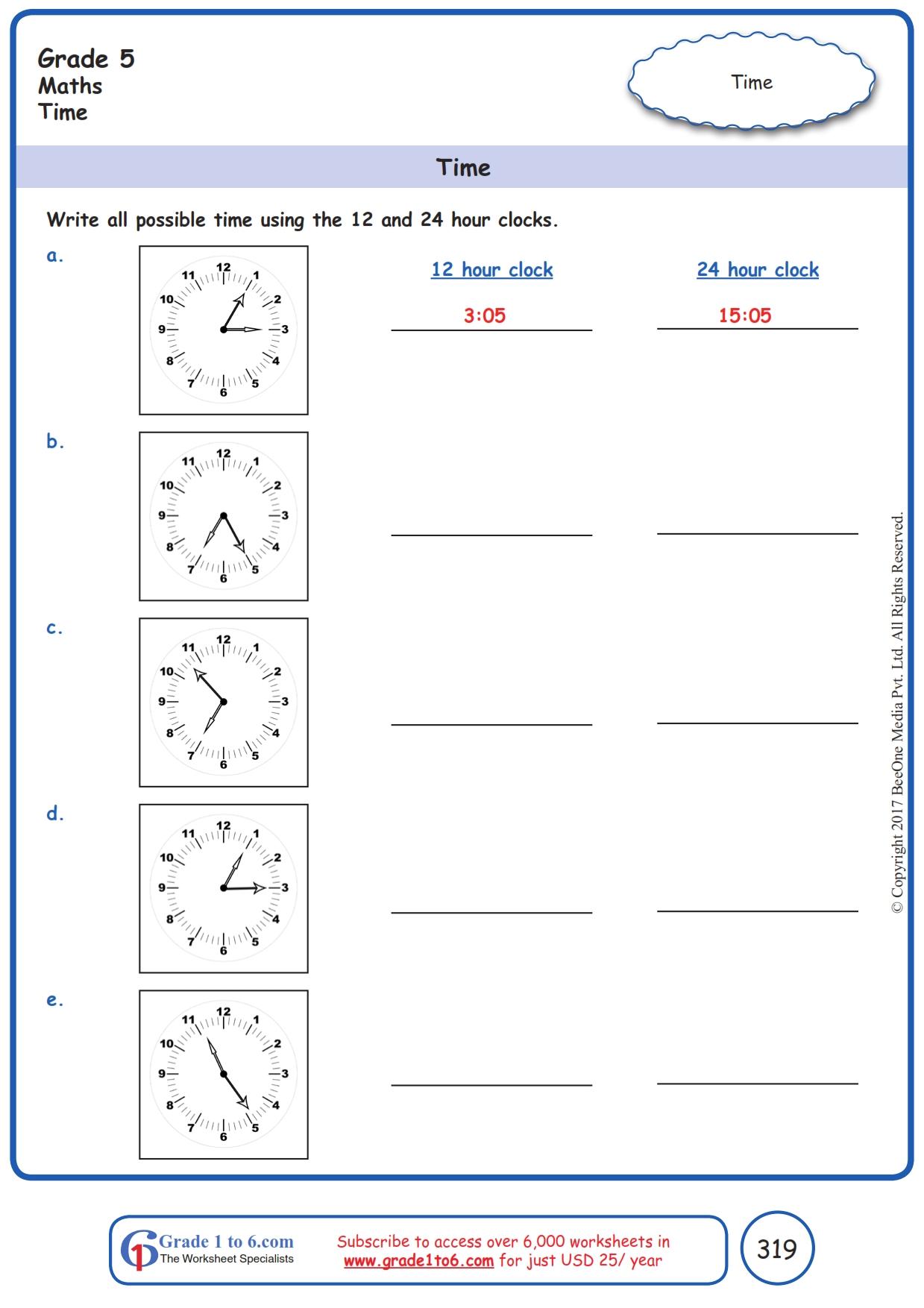 hight resolution of Time  12 hr \u0026 24 hr  Worksheets www.grade1to6.com