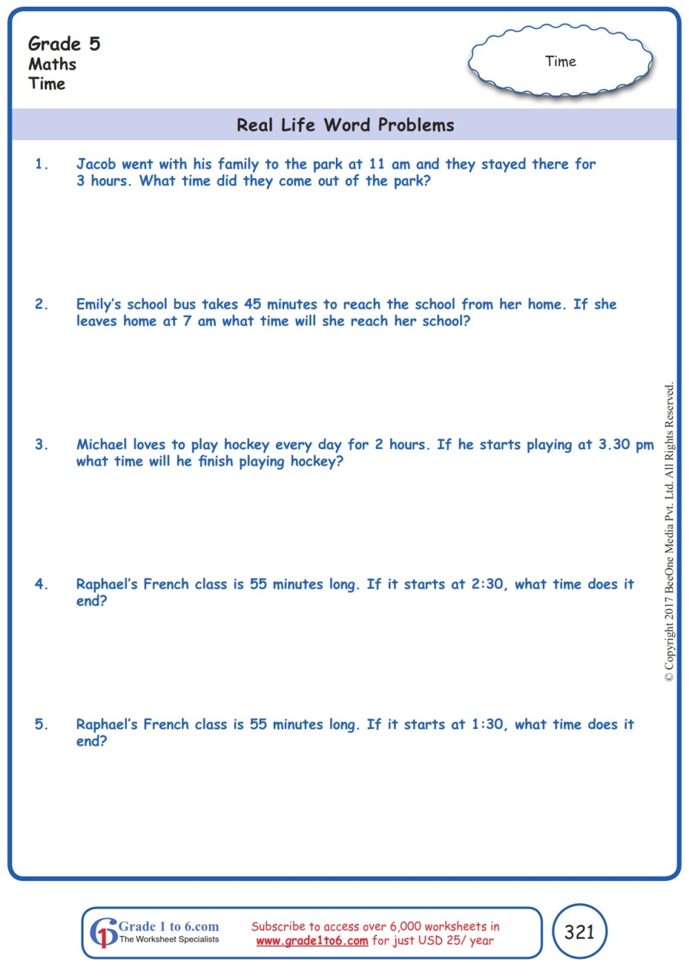 medium resolution of Grade 5 Word Problems in Time Worksheets www.grade1to6.com
