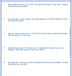 Word Problems in Time Worksheets www.grade1to6.com [ 1754 x 1239 Pixel ]