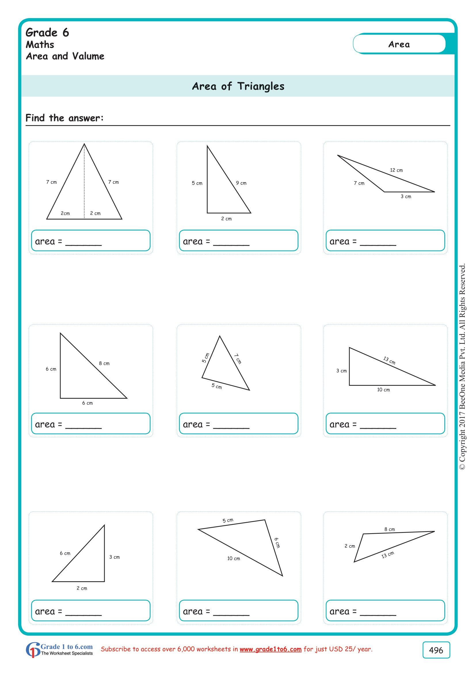 hight resolution of Area of a Triangle Worksheets Grade 6 www.grade1to6.com