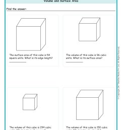 Volume \u0026 Surface Area of a Cube Worksheet www.grade1to6.com [ 2339 x 1654 Pixel ]
