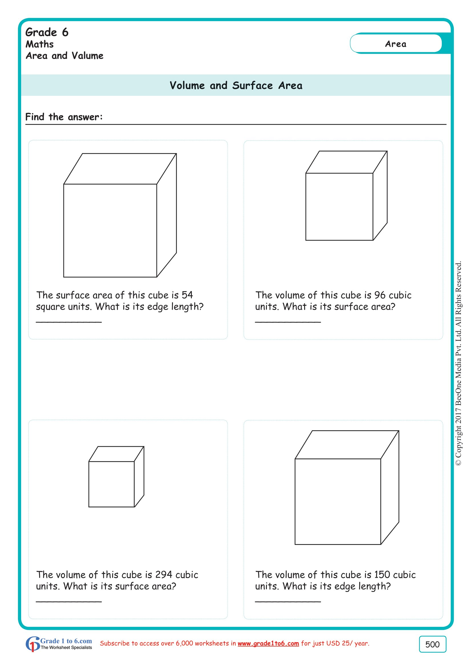 hight resolution of Volume \u0026 Surface Area of a Cube Worksheet www.grade1to6.com