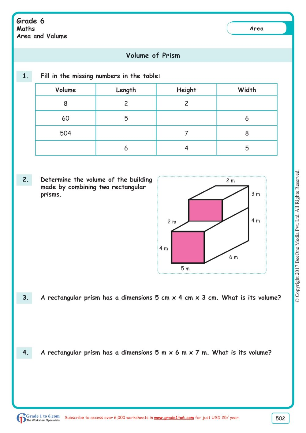 medium resolution of Volume of a Rectangular Prism Worksheets www.grade1to6.com