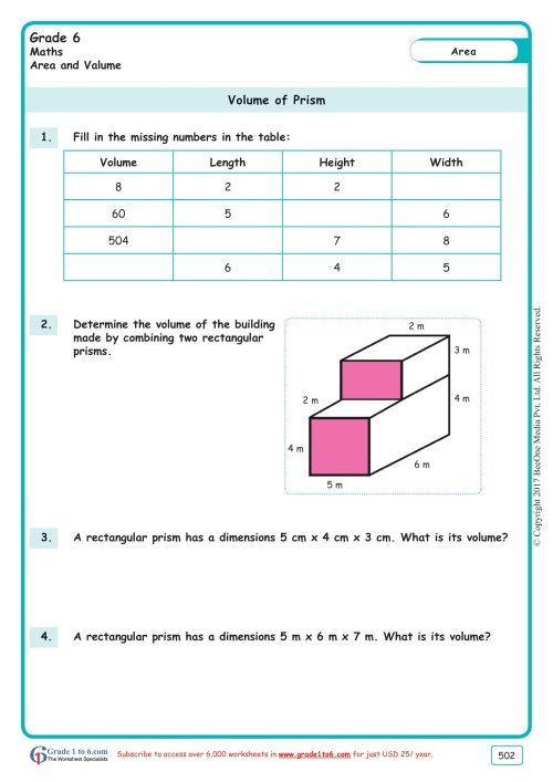 small resolution of Volume of a Rectangular Prism Worksheets www.grade1to6.com