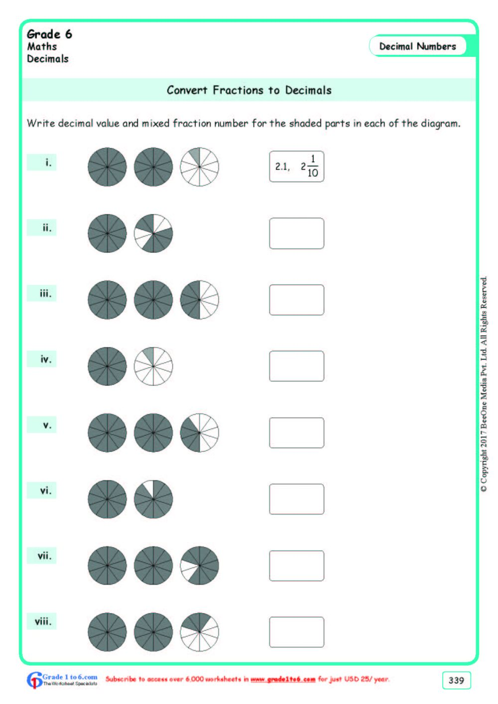 medium resolution of Converting Fractions to Decimals Worksheets Grade 6