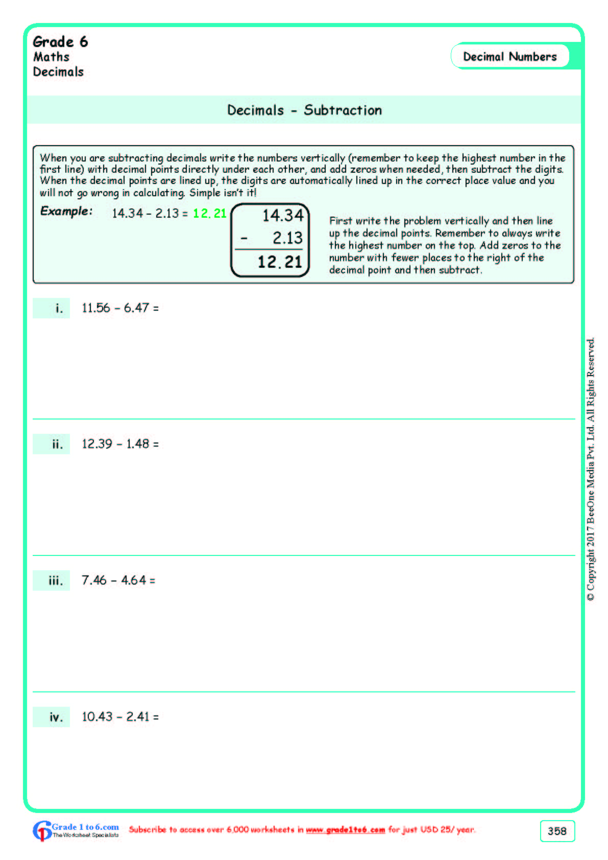 hight resolution of Subtracting Decimals Worksheets  Grade 6  www.grade1to6.com