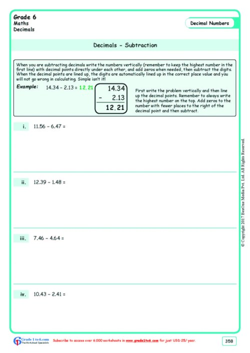 small resolution of Subtracting Decimals Worksheets  Grade 6  www.grade1to6.com