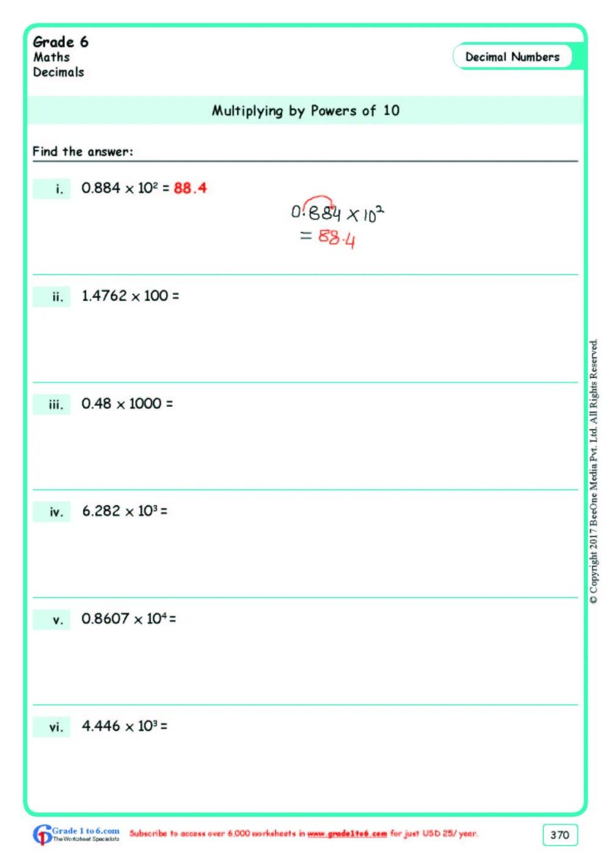 medium resolution of Decimals Multiplication Worksheets Grade 6  www.grade1to6.com