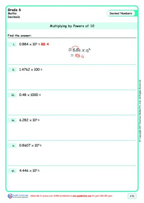 small resolution of Decimals Multiplication Worksheets Grade 6  www.grade1to6.com