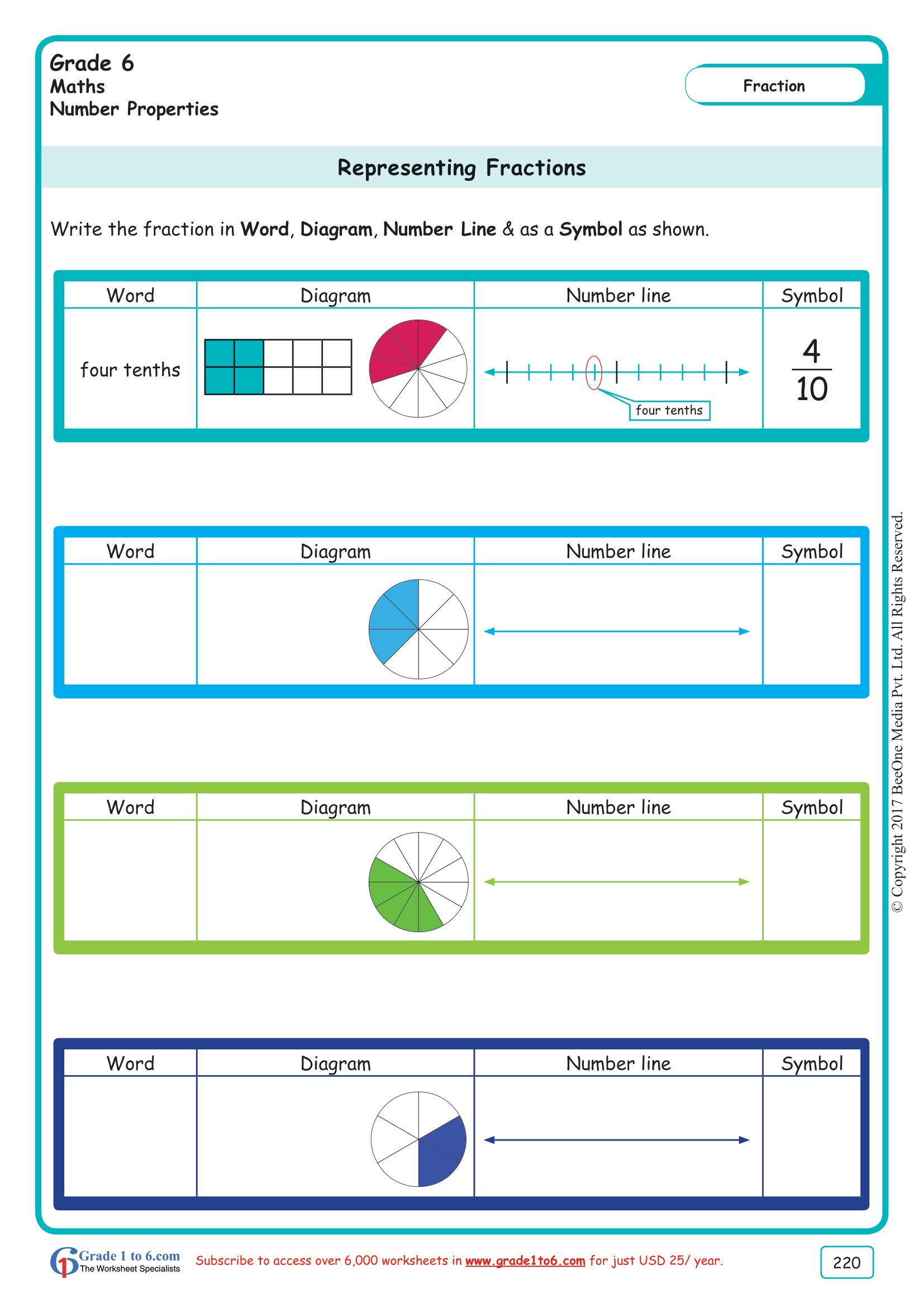 hight resolution of Grade 6 Representing Fractions Worksheets www.grade1to6.com