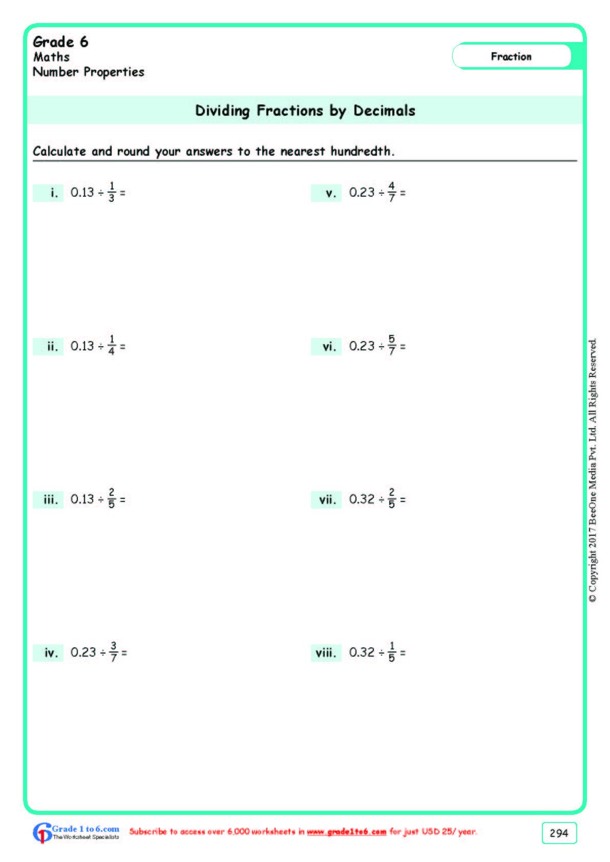 Grade 6 Class Six Dividing Fractions Worksheets