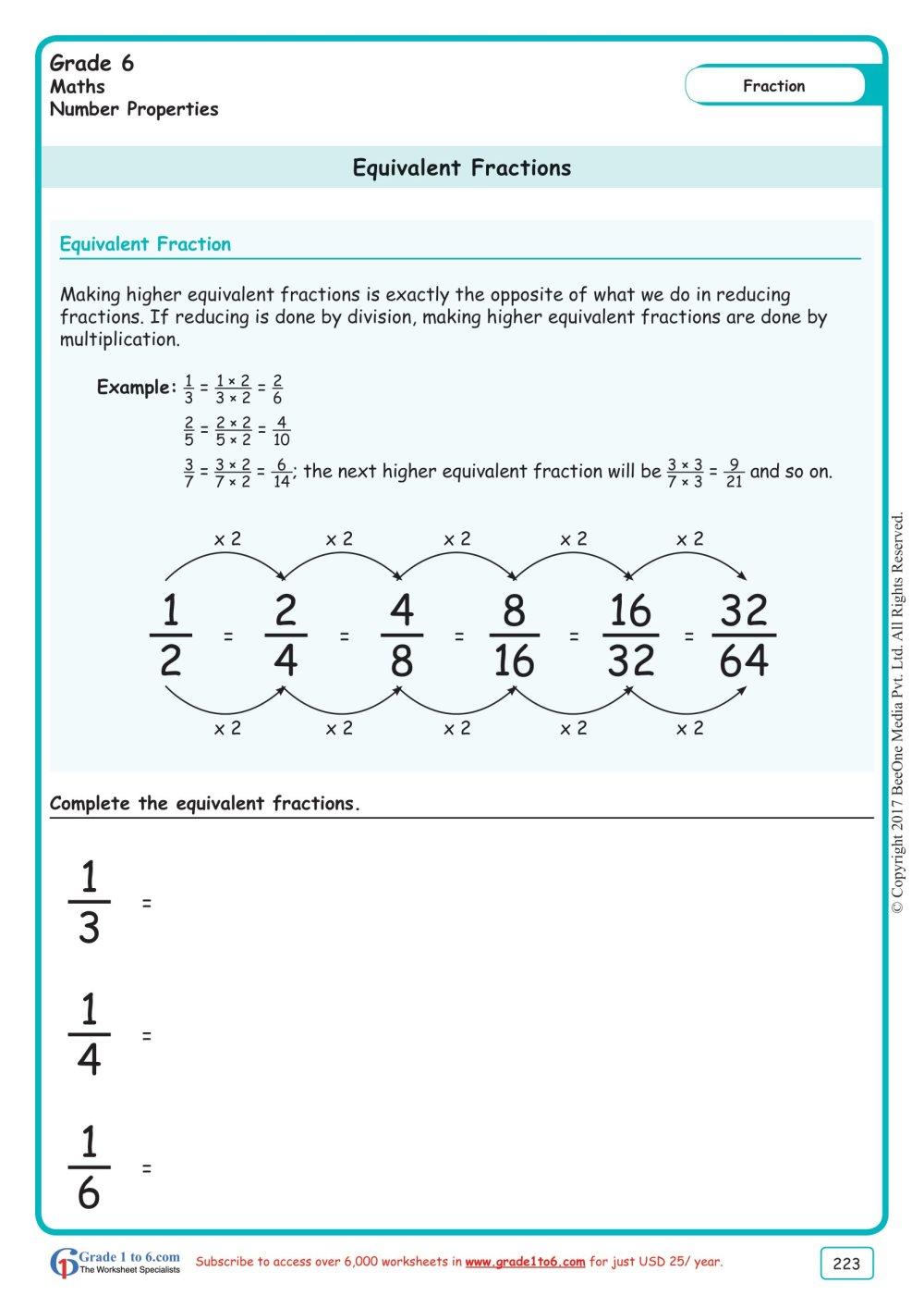 medium resolution of Grade 6 Equivalent Fractions Worksheets www.grade1to6.com
