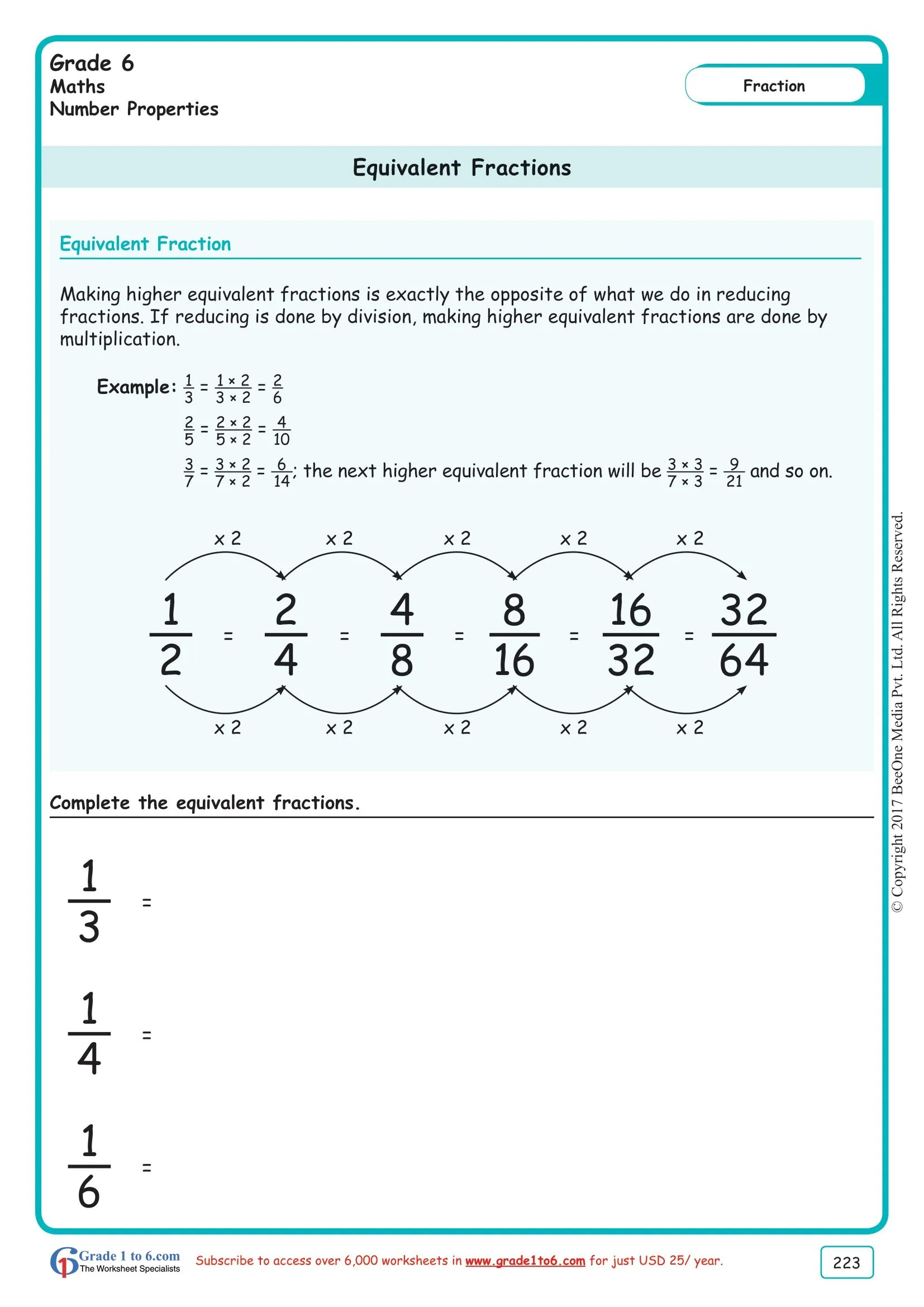 hight resolution of Grade 6 Equivalent Fractions Worksheets www.grade1to6.com