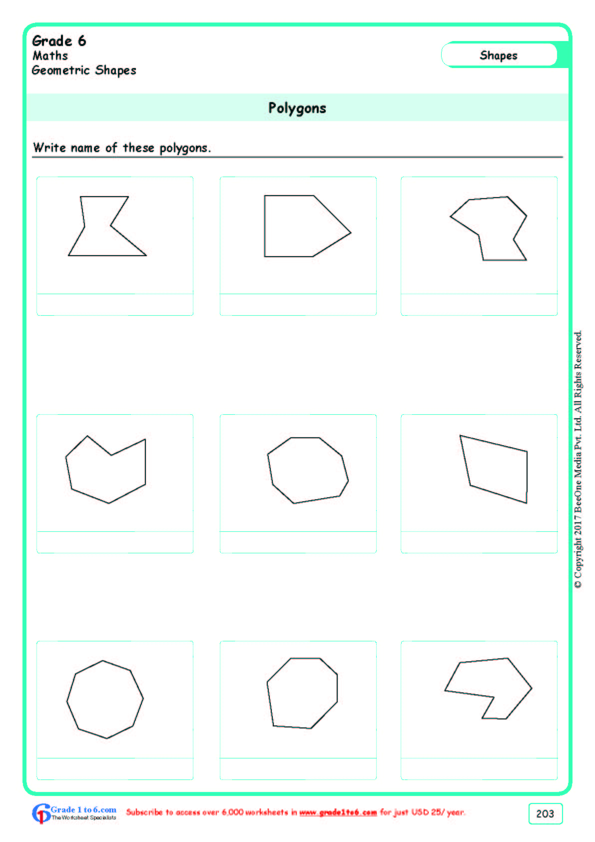 Grade 6 Class Six Polygons Worksheets Ade1to6