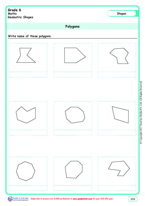 medium resolution of Naming Polygons Worksheets www.grade1to6.com
