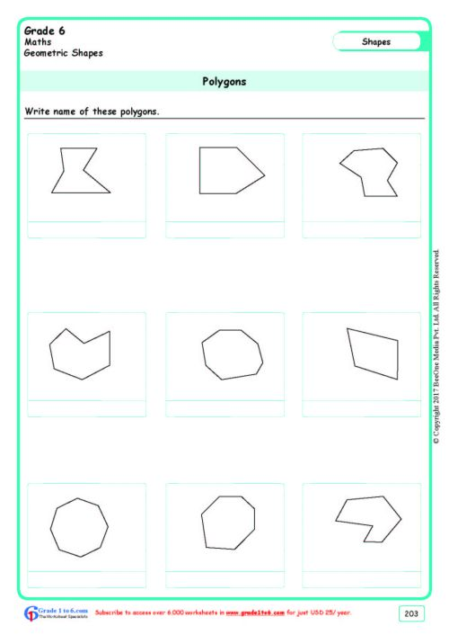 small resolution of Naming Polygons Worksheets www.grade1to6.com