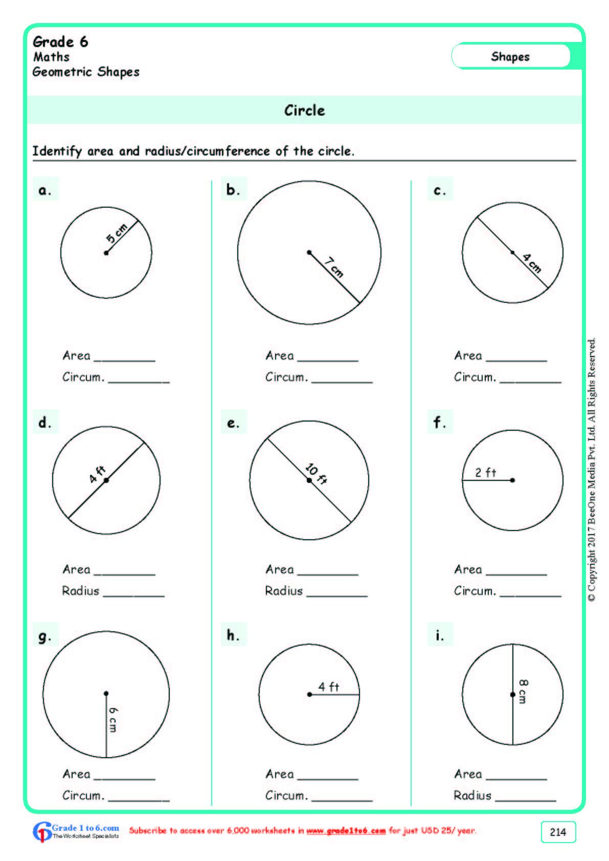 Grade 6 Class Six Circle Worksheets Ade1to6