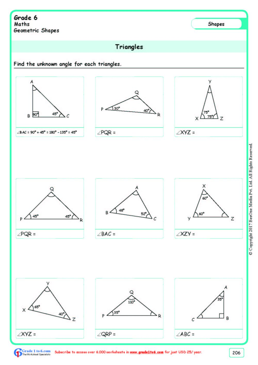 medium resolution of Angles of a Triangle Worksheets Grade 6 www.grade1to6.com
