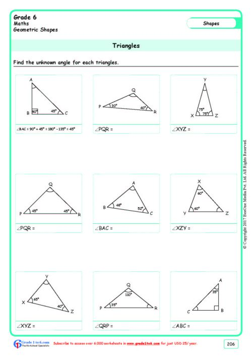 small resolution of Angles of a Triangle Worksheets Grade 6 www.grade1to6.com