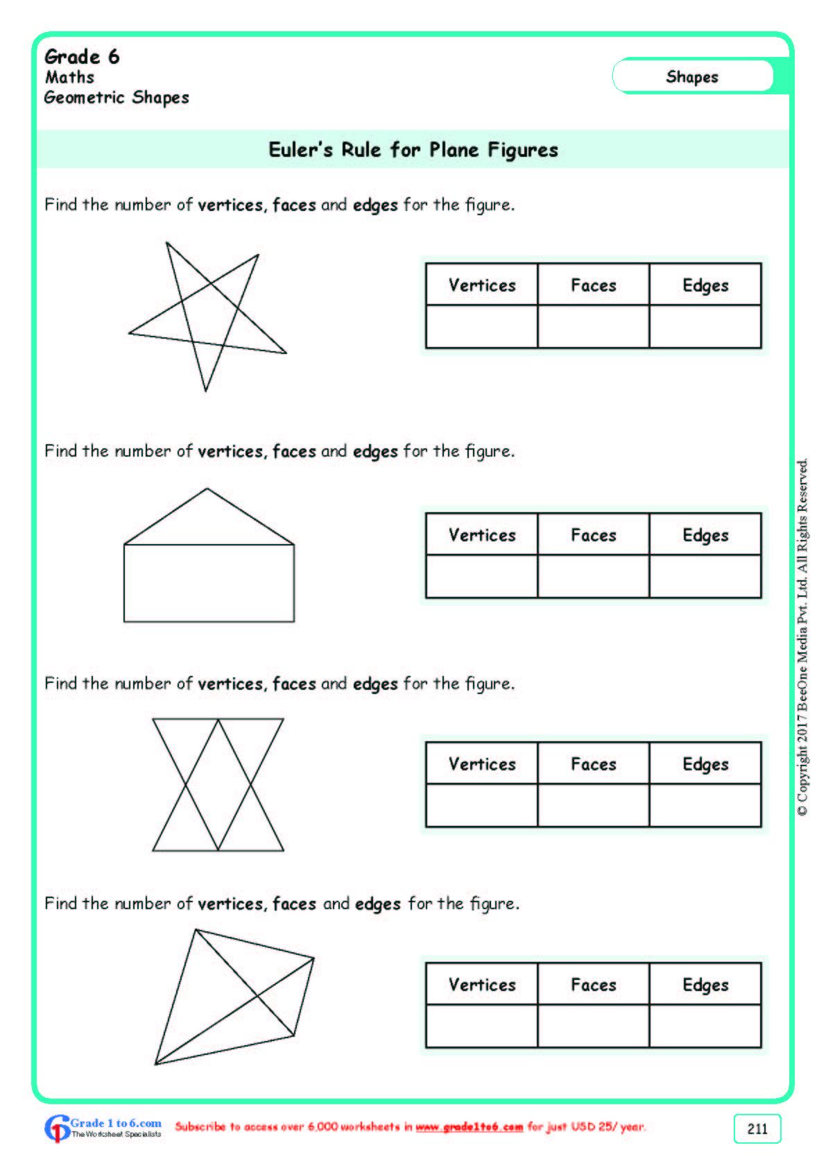 hight resolution of Grade 6 Class Six Euler's Formula Worksheets www.grade1to6.com