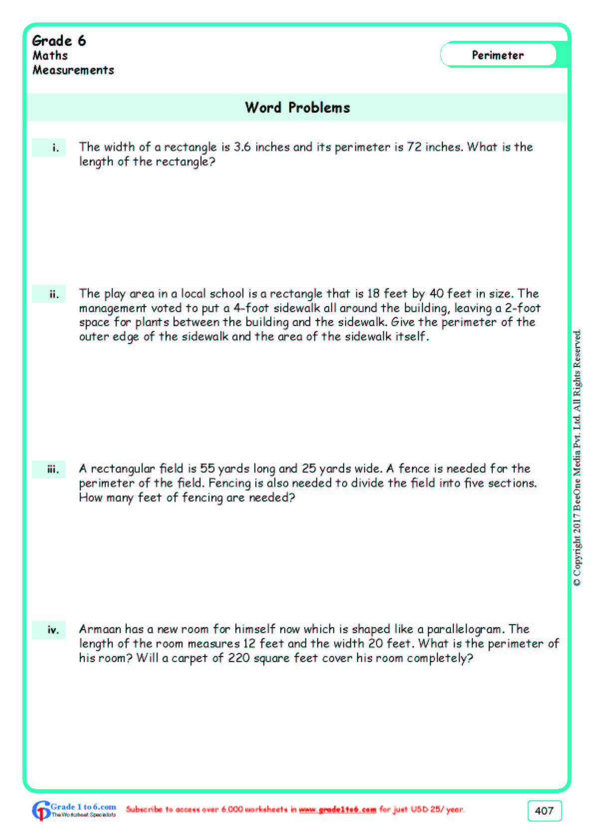 hight resolution of Perimeter Word Problems Worksheets www.grade1to6.com