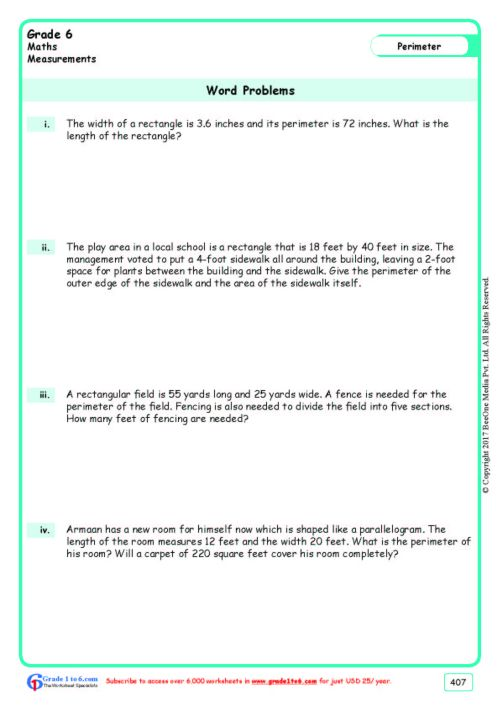 small resolution of Perimeter Word Problems Worksheets www.grade1to6.com