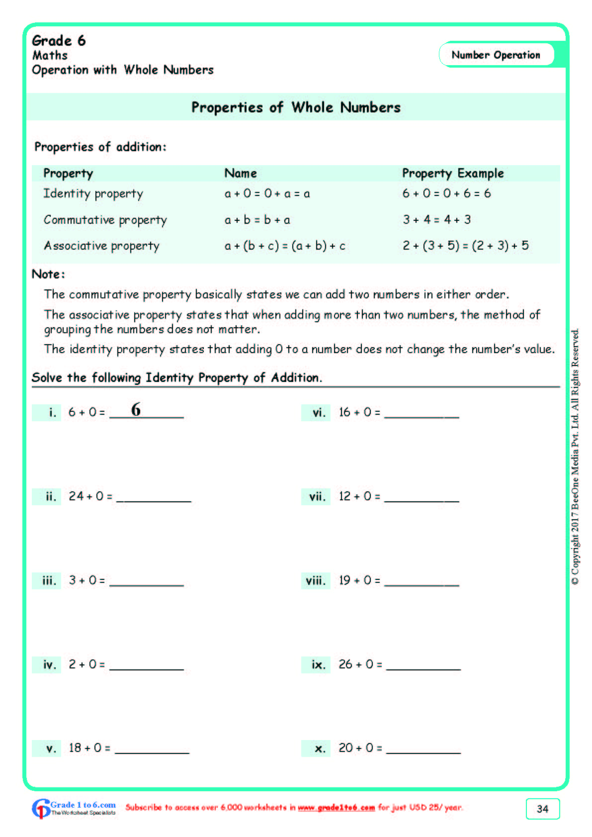 hight resolution of Grade 6 Number Properties Worksheets www.grade1to6.com