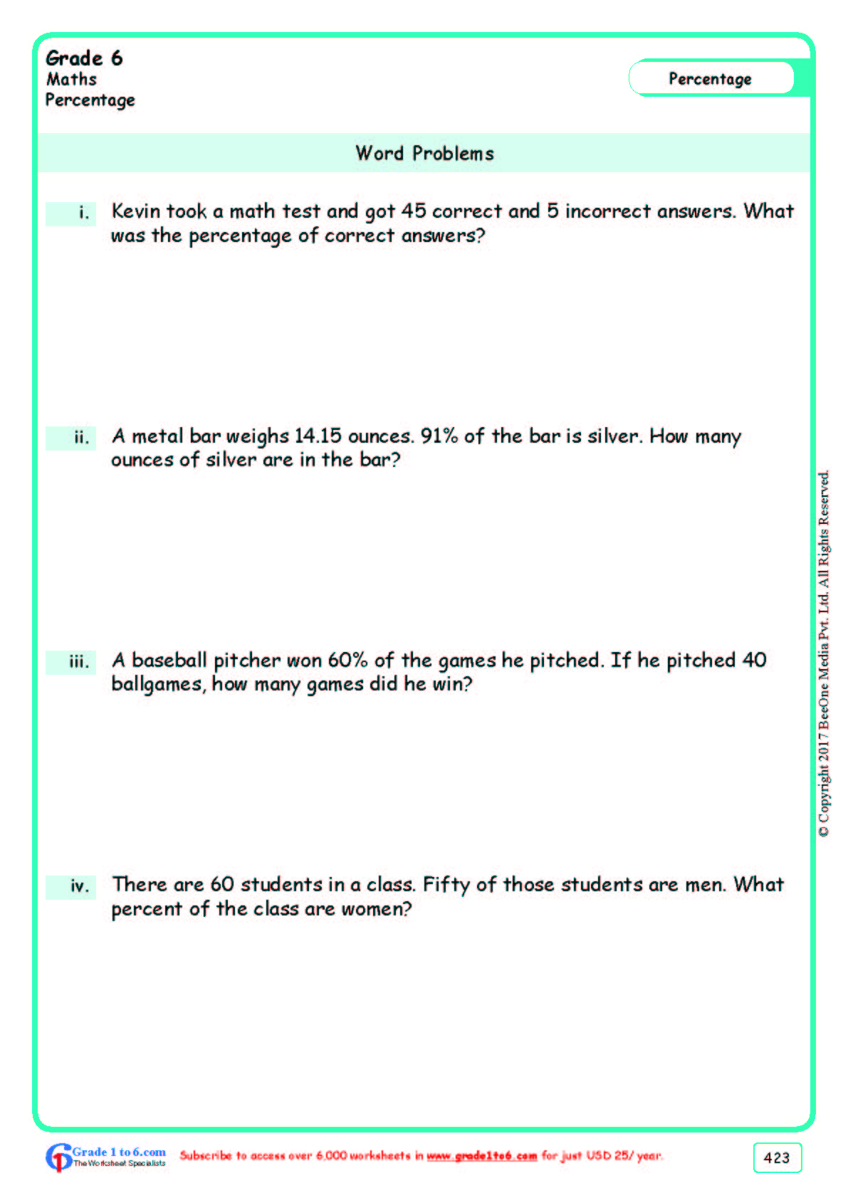 Grade 6 Class Six Word Problems Worksheets Ade1to6