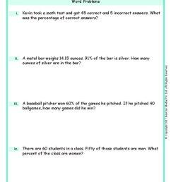Percentage Word Problems Worksheets www.grade1to6.com [ 1683 x 1191 Pixel ]