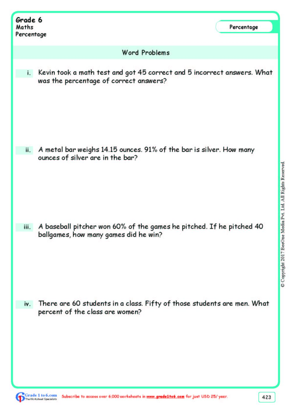 medium resolution of Percentage Word Problems Worksheets www.grade1to6.com